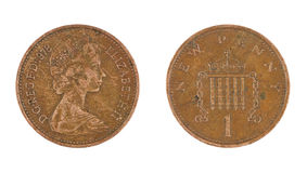 Una moneta del penny isolata Fotografia Stock Libera da Diritti