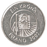 Una moneta della corona islandese Fotografia Stock Libera da Diritti