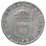 Una moneta della corona svedese Fotografia Stock Libera da Diritti