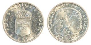 Una moneta della corona svedese Fotografia Stock
