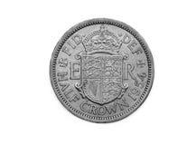 Una moneta della mezza corona da U k Del 1954 Fotografia Stock