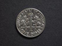 Una moneta della moneta da dieci centesimi di dollaro Fotografia Stock
