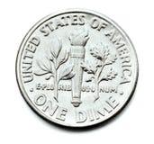 Una moneta della moneta da dieci centesimi di dollaro Fotografie Stock Libere da Diritti