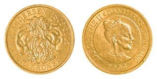 una moneta di 10 corone scandinave danesi Fotografie Stock Libere da Diritti
