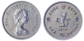 una moneta di 1 dollaro 1978 isolata su fondo bianco, Hong Kong Fotografie Stock