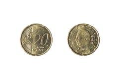 Una moneta di 20 euro centesimi Immagini Stock Libere da Diritti