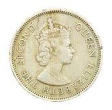 una moneta di Hong Kong dai 50 centesimi di 1958 Fotografia Stock Libera da Diritti