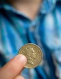 Una moneta di libbra immagine stock