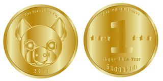 Una moneta di oro festiva di un milione di dollari, teste e code, dedicate al nuovo 2019, l'anno del maiale royalty illustrazione gratis