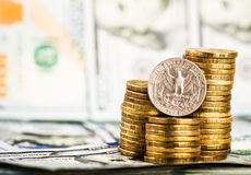 una moneta nel quarto del dollaro Immagini Stock
