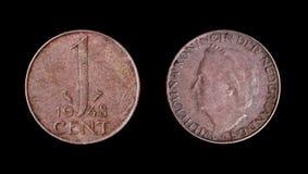 Una moneta olandese di 1948 Fotografie Stock Libere da Diritti