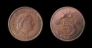 Una moneta olandese di 1953 Fotografia Stock Libera da Diritti