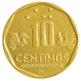 Una moneta peruviana da 10 di nuevo centimos del solenoide Immagine Stock Libera da Diritti