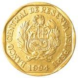 Una moneta peruviana da 20 di nuevo centimos del solenoide Fotografie Stock