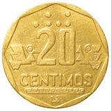 Una moneta peruviana da 20 di nuevo centimos del solenoide Fotografia Stock Libera da Diritti
