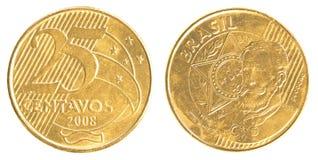 Una moneta reale brasiliana da 25 centavi Fotografie Stock