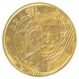 Una moneta reale brasiliana da 25 centavi Fotografia Stock