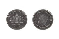 Una moneta svedese della corona Fotografia Stock
