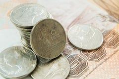 Una moneta tailandese di baht Fotografie Stock Libere da Diritti