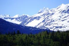 Una montagna bianca sulla strada a Skagway Alaska Fotografia Stock