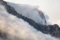 Una montagna protetta nella distanza con gli alberi e la nebbia della priorità alta Fotografia Stock Libera da Diritti