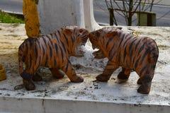 Una mordedura de madera del tigre Fotos de archivo libres de regalías