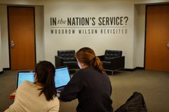 Una mostra circa l'eredità di Woodrow Wilson all'università di Princeton Immagini Stock