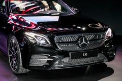 Una mostra di Mercedes E 43 all'auto internazionale 2016 di New York Fotografia Stock