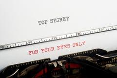 Máquina de escribir secretísima Imágenes de archivo libres de regalías