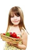 Una muchacha bonita feliz con sus huevos de Pascua Fotos de archivo libres de regalías