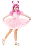Una muchacha con el pelo rosado en un baile rosado de la alineada Imagen de archivo