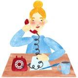 Una muchacha con el pelo rubio en el azul, hablando en el teléfono ilustración del vector