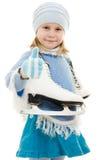 Una muchacha con los patines Foto de archivo libre de regalías