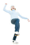 Una muchacha con los patines Imágenes de archivo libres de regalías