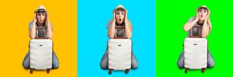 Una muchacha con una maleta va en un viaje collage emoción imagenes de archivo
