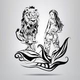 Una muchacha con un más doméstico de león en los modelos. Ejemplo del vector Fotos de archivo libres de regalías