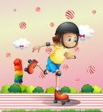 Una muchacha con un rollerskate Fotos de archivo