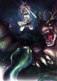 Una muchacha del guerrero está luchando una serpiente gigante con su dragón Imagen de archivo libre de regalías