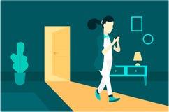 Una muchacha en el cuarto Ejemplo del arte libre illustration