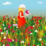 Una muchacha en el prado Fotos de archivo libres de regalías