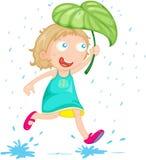 Una muchacha en lluvia Imágenes de archivo libres de regalías