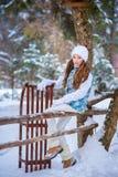 Una muchacha en paseo en el parque nevado del invierno Imágenes de archivo libres de regalías