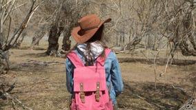 Una muchacha en un sombrero de ala ancha mira hacia fuera de detrás su hombro que se sienta en un árbol torcido en un alto 4k metrajes