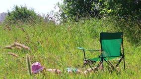 Una muchacha en un traje de baño está tomando el sol en el césped Al lado de ella en una silla de la comida campestre metrajes
