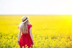Una muchacha en un vestido rojo largo que admira el amanecer o la puesta del sol en el campo amarillo brillante imagen de archivo
