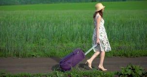 Una muchacha en un vestido y un sombrero camina a través de un campo verde de la hierba almacen de metraje de vídeo