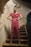 Una muchacha en una alineada rosada en las escaleras Fotografía de archivo libre de regalías