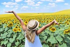 Una muchacha en una granja del girasol Foto de archivo libre de regalías
