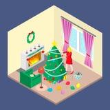 Una muchacha está adornando un árbol de navidad libre illustration