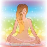 Una muchacha está en la meditación Foto de archivo libre de regalías